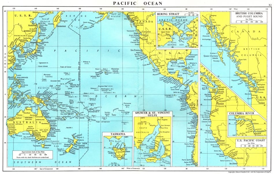 Associate Product PACIFIC.Spencer S Vincent Tasmania Bering British Columbia Puget river 1971 map