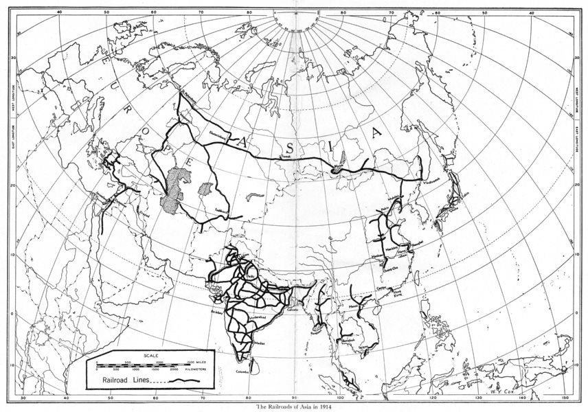 Associate Product ASIA. The Railroads of Asia in 1914 1948 old vintage map plan chart