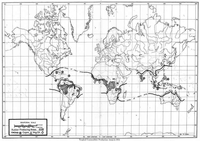 Associate Product WORLD. Tropical Commodities Production areas in 1914 1948 old vintage map