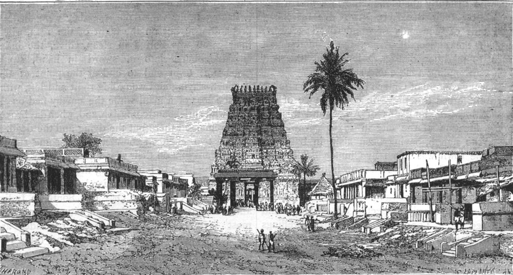 Associate Product INDIA. Entrance to the Pagoda of Kanchipuram c1880 old antique print picture