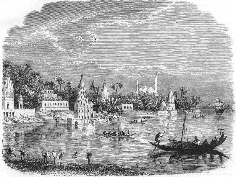 Associate Product INDIA. Scene on the banks of the Ganges c1880 old antique print picture
