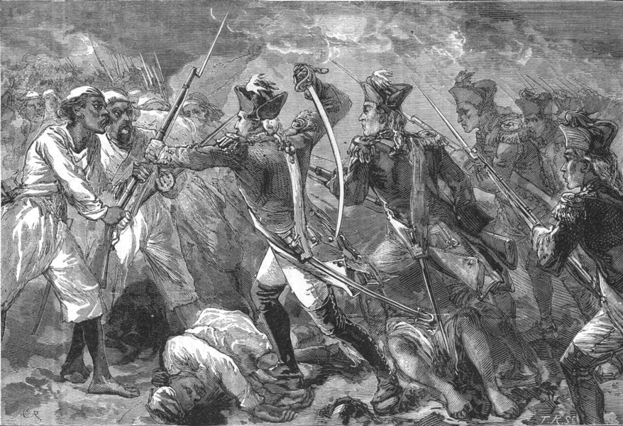 INDIA. Captain Yorke leading the Forlorn hope at Masulipatam c1880 old print