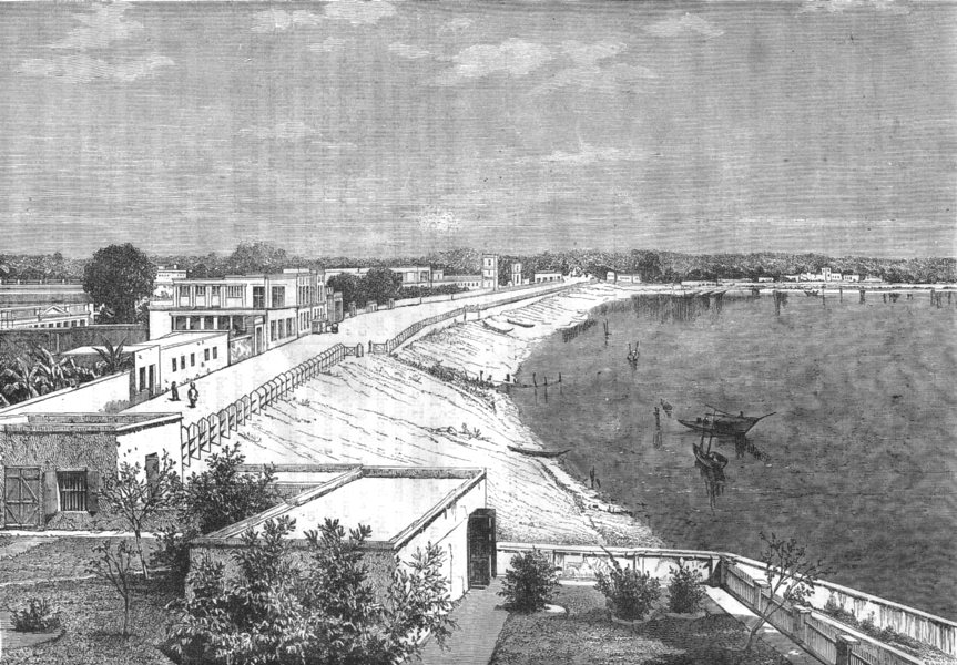 Associate Product INDIA. View of Chandannagar c1880 old antique vintage print picture