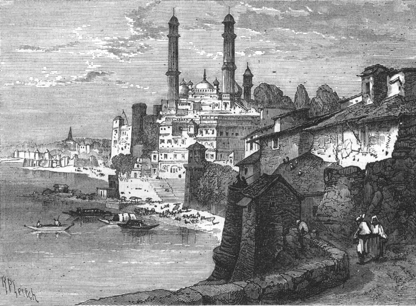 Associate Product INDIA. View of Varanasi c1880 old antique vintage print picture