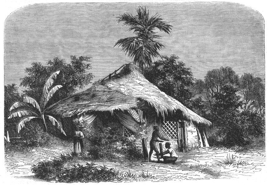 Associate Product INDIA. Native hut at Mumbai c1880 old antique vintage print picture