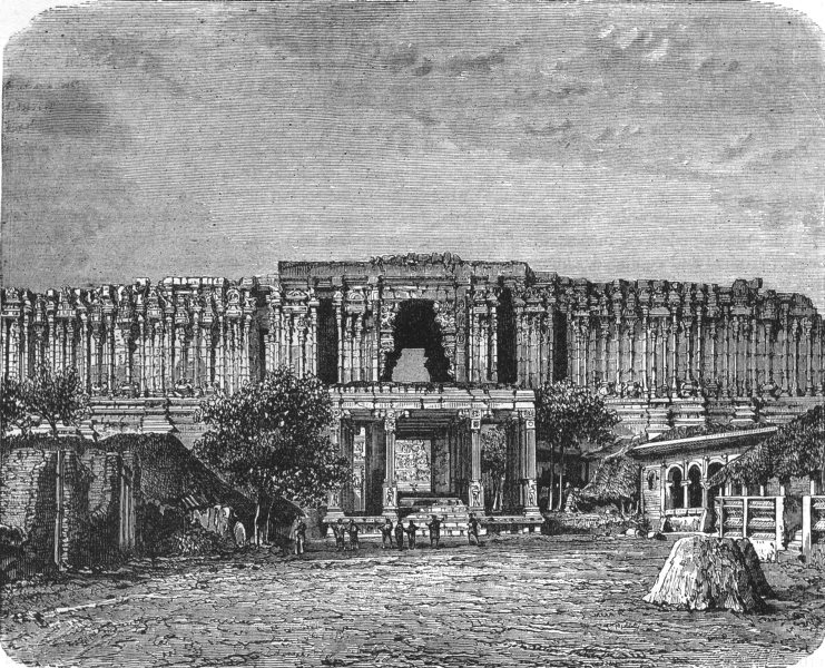 Associate Product INDIA. Entrance to the temple of Seringham c1880 old antique print picture
