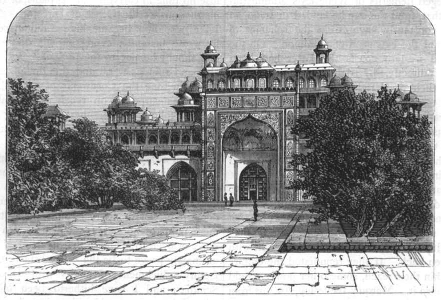 Associate Product INDIA. View of the Mausoleum of Akbar, at Secundra c1880 old antique print