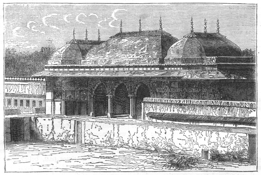 INDIA. View of a Pavilion in the Palace of Jaipur c1880 old antique print