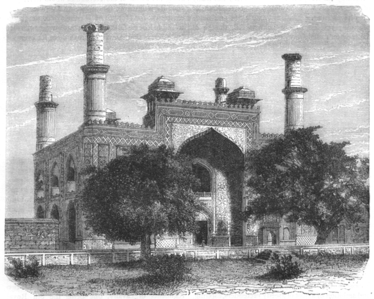 Associate Product INDIA. View of the gate of the garden of Secundra c1880 old antique print