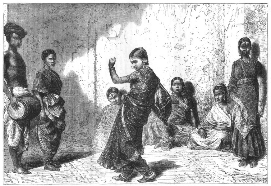 Associate Product INDIA. Dancing girls of Mumbai c1880 old antique vintage print picture
