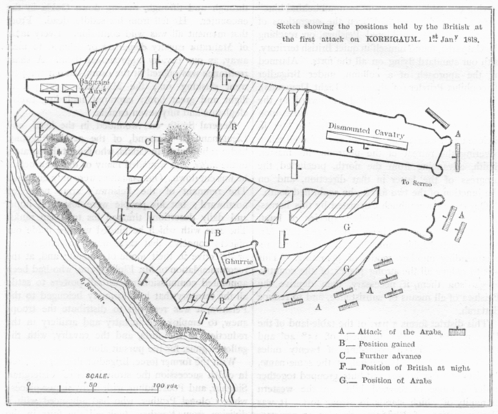 Associate Product INDIA. Plan British positions at 1st attack on Koreigaum c1880 old antique map