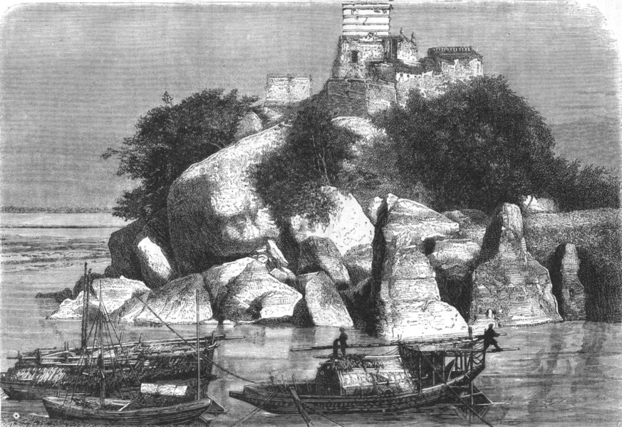 Associate Product INDIA. View of the sacred Isle of Devinath, on the Ganges c1880 old print