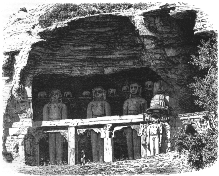 Associate Product INDIA. View of the Cavern of Tirthankars, near Gwalior c1880 old antique print