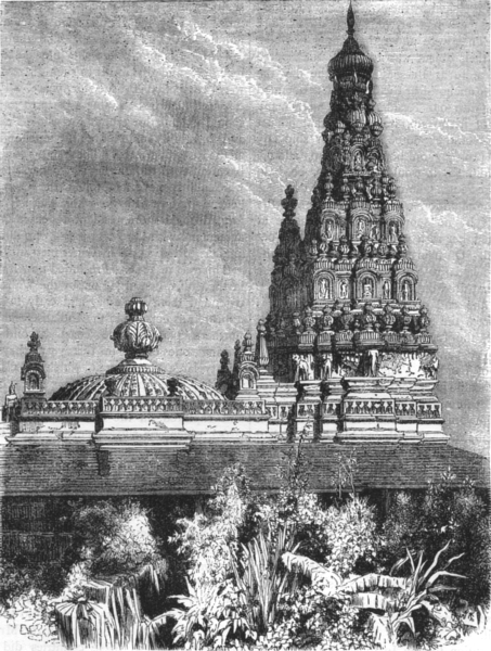 Associate Product INDIA. View of a Hindu temple, Mumbai c1880 old antique vintage print picture