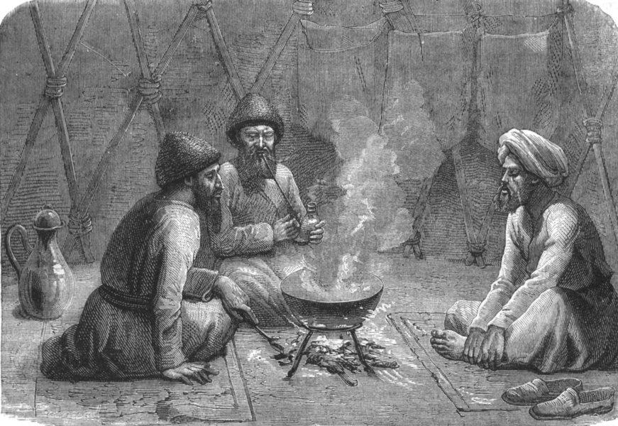 Associate Product TURKMENISTAN. Interior of a Turkmen tent c1880 old antique print picture