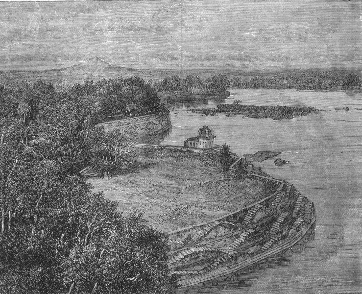 Associate Product INDIA. The Bund or Dam of the Lake of Barwa, Jhansi c1880 old antique print
