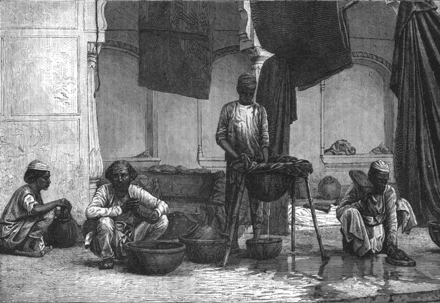 Associate Product INDIA. Dyers of Lucknow c1880 old antique vintage print picture