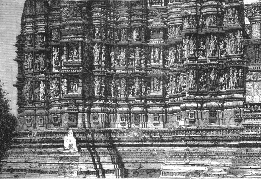 Associate Product INDIA. The facade of the temple of Kali at Kijraha c1880 old antique print