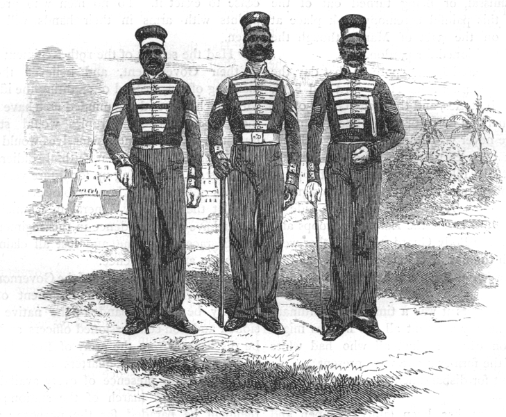 Associate Product INDIA. Non-commissioned officers of native Bengal Infantry c1880 old print