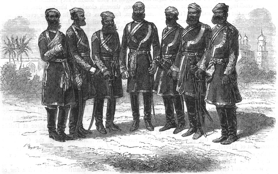 Associate Product INDIA. Native officers of the Bengal irregular Cavalry c1880 old antique print