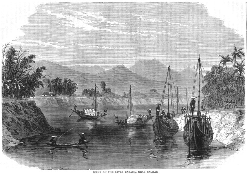Associate Product INDIA. Scene on the River Barack, near Cachar c1880 old antique print picture