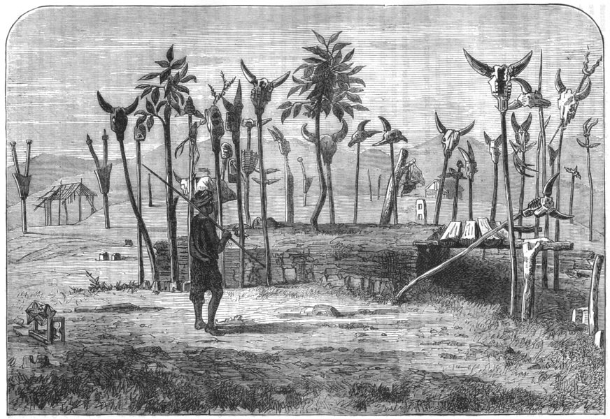 Associate Product INDIA. The grave of a Lushai Chief c1880 old antique vintage print picture