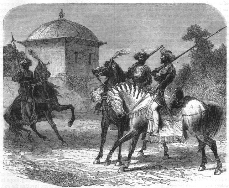 Associate Product INDIA. Horsemen of the Guicowar's bodyguard at Vadodara c1880 old print