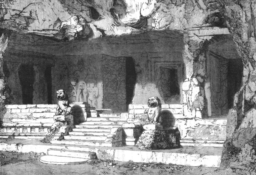 Associate Product INDIA. View of the Lions Cave, Elephanta c1880 old antique print picture