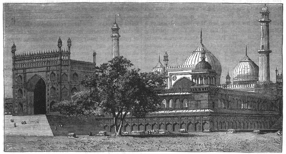 DELHI. View of the Jama Masjid, Delhi c1880 old antique vintage print picture