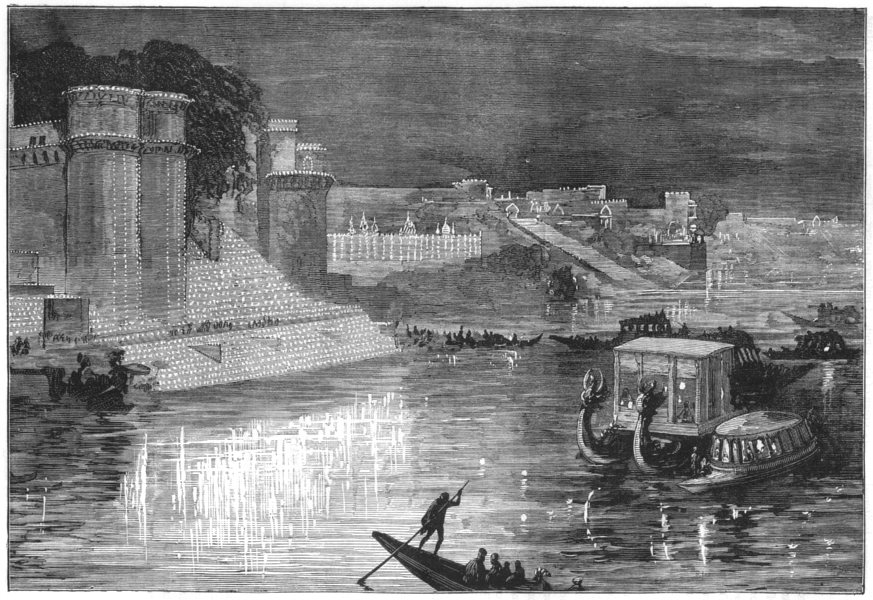 Associate Product INDIA. Lights at Varanasi for Prince of Wales c1880 old antique print picture