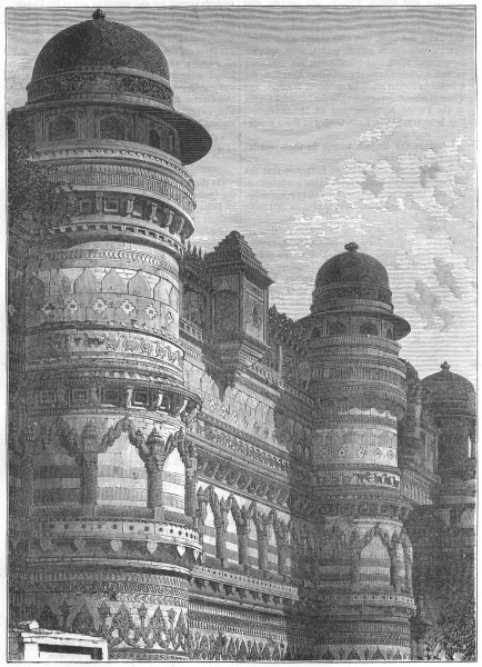 Associate Product INDIA. Side wall of the Pal Palace, Gwalior c1880 old antique print picture