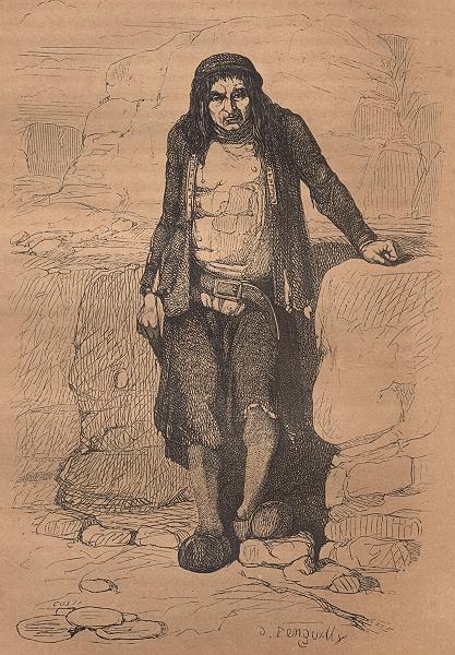 Associate Product FINISTÈRE. Homme de la Cote Guissény(Finistere) 1844 old antique print picture