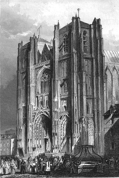 Associate Product LOIRE-ATLANTIQUE. Cathedrale de Nantes 1844 old vintage print picture