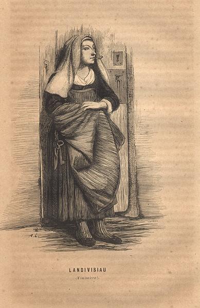 Associate Product FINISTÈRE. Landivisiau(Finistere) 1844 old antique vintage print picture