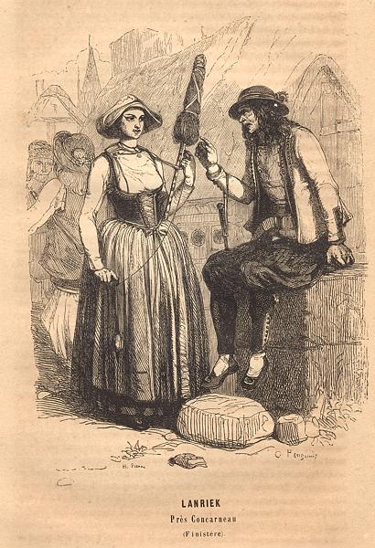 Associate Product FINISTÈRE. Lanreic Pres Concarneau(Finistere) 1844 old antique print picture