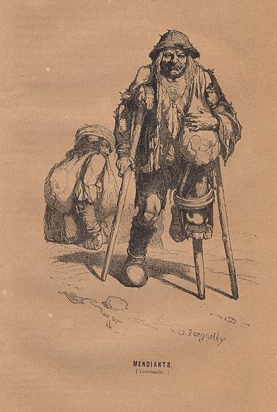 Associate Product BRITTANY. Mendiants(Cornouaille) 1844 old antique vintage print picture
