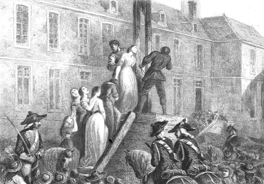 Associate Product LOIRE-ATLANTIQUE. Une Execution a Nantes(1793) 1844 old print picture