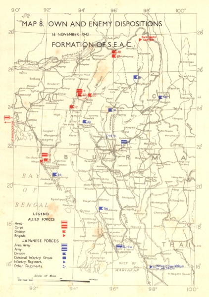 Associate Product ASIA. Oct, 1943, to Feb, 1944. Own & Enemy positions formation of SEAC 1951 map