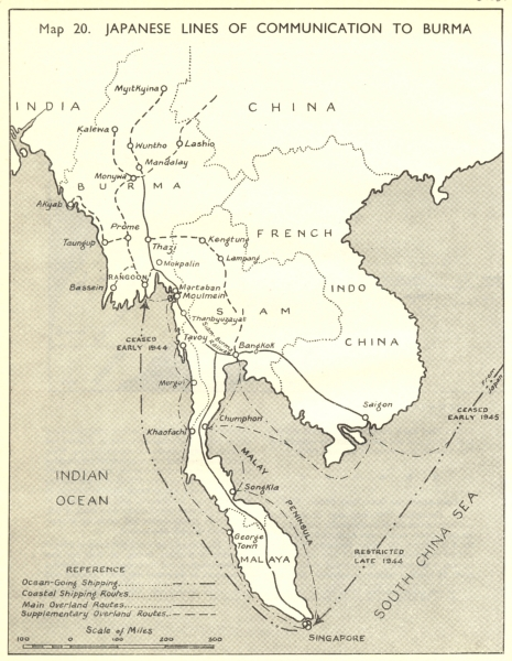 Associate Product BURMA. July to Nov, 1944. Japanese Lines of Communication 1951 old vintage map