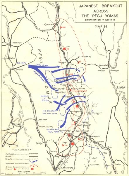 Associate Product BURMA. May to Sep, 1945. Japanese Breakout across Pegu Yomas 1951 old map