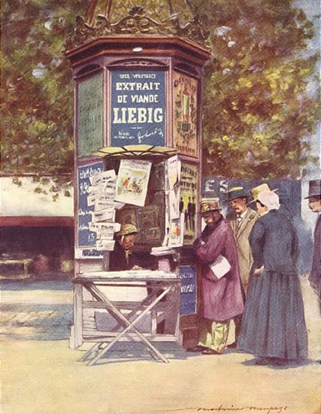 Associate Product PARIS. France. A Kiosque, Paris 1920 old vintage print picture