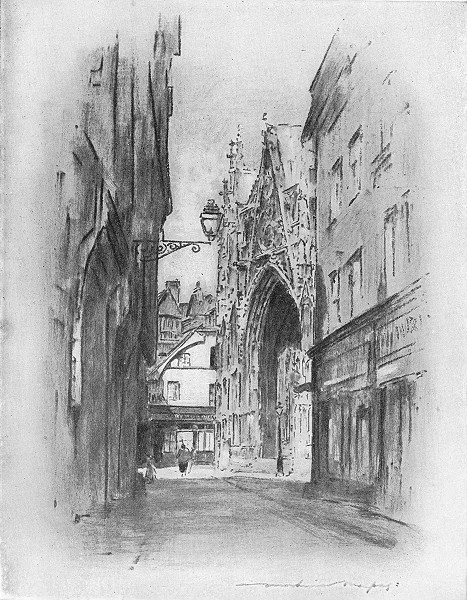 Associate Product FRANCE. Normandy. Cathedral at Lillebonne 1920 old vintage print picture