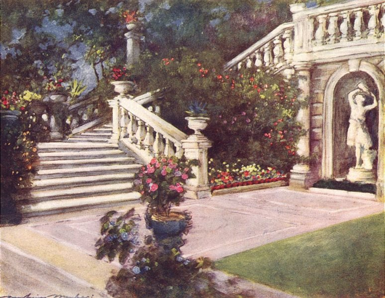 Associate Product ROME. A garden, Rome, Italy 1920 old vintage print picture