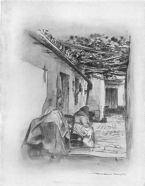 Associate Product SPAIN. Courtyard in Seville 1920 old vintage print picture