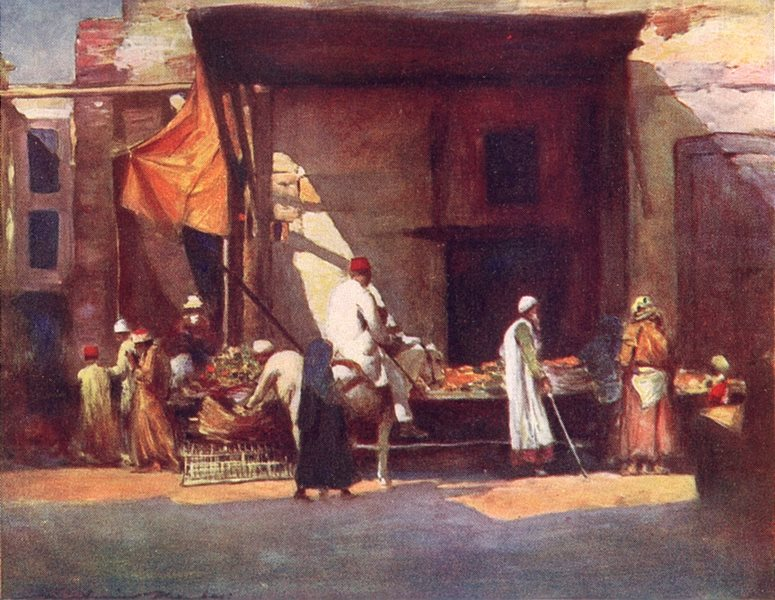 EGYPT. Fruit Stall, Egypt 1920 old vintage print picture