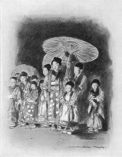 Associate Product JAPAN. Children watching a play 1920 old vintage print picture