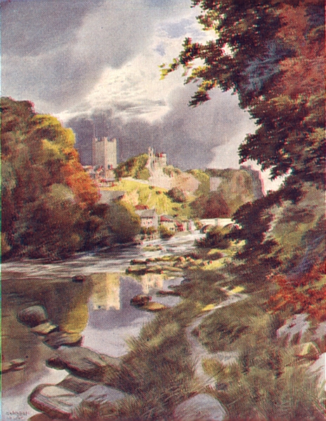 Associate Product YORKS. Richmond Castle from the River 1908 old antique vintage print picture