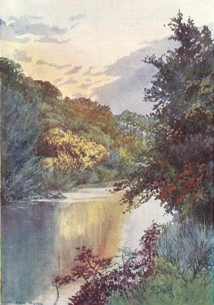 YORKS. Esk Valley. An Autumn Scene on the Esk 1908 old antique print picture