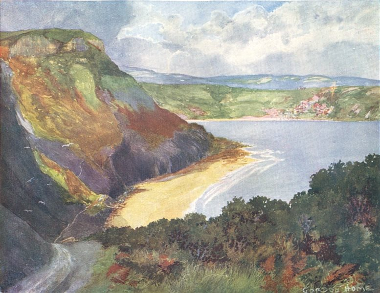 Associate Product YORKS. The Coast. Runswick Bay 1908 old antique vintage print picture