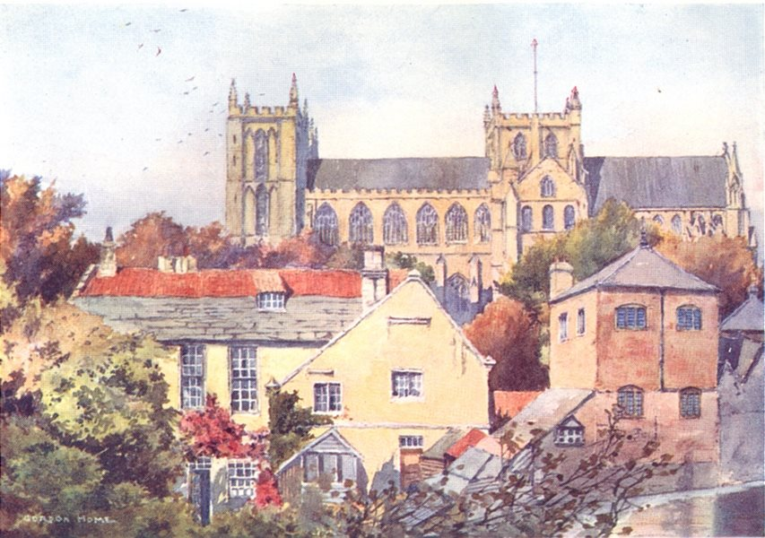 Associate Product YORKS. Ripon Minster from the South 1908 old antique vintage print picture